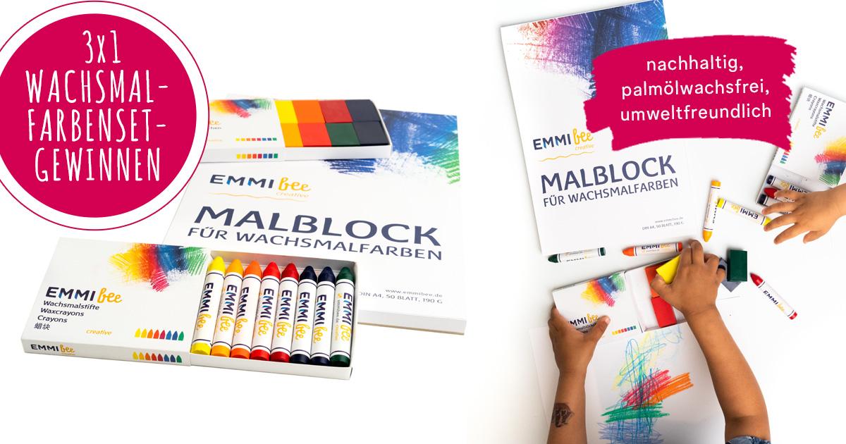 jetzt 3x1 nachhaltiges emmibee wachsmalfarben creative set gewinnen